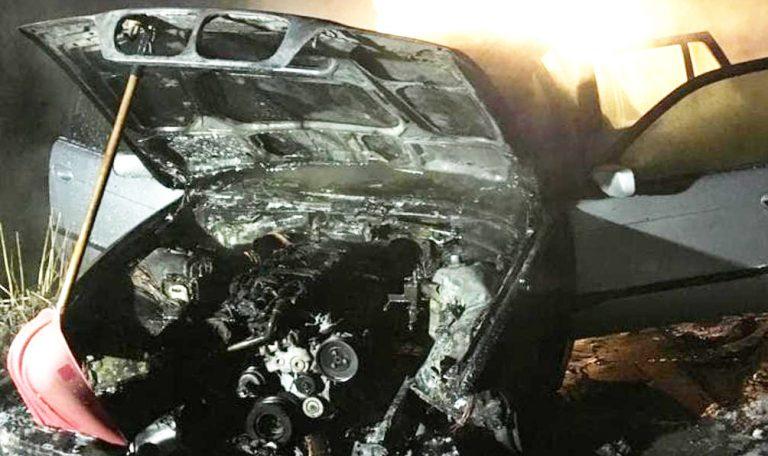 Pożar samochodu w Kiszewie